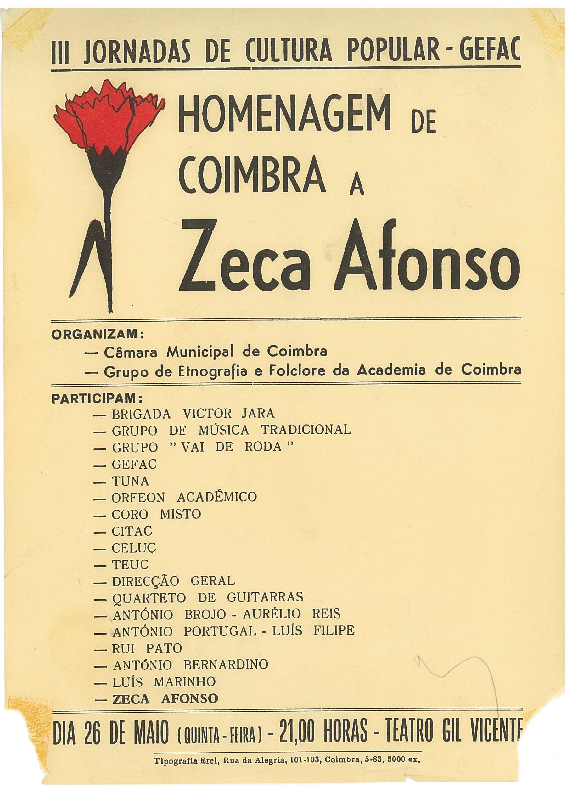 1983_III Jornadas de Cultura Popular _ Homenagem a Zeca Afonso